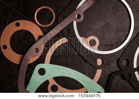 Close up shot of various engine gaskets.