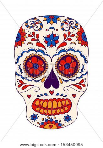 Vector skull color illustration, t-shirt graphics. Day of the dead sugar skull.