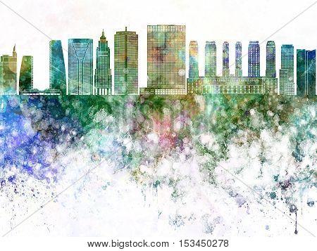 Sao Paulo V2 skyline in watercolor background