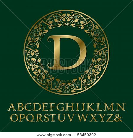 Tendrils gold letters with D initial monogram. Baroque style font for logo design. Isolated english vintage alphabet.