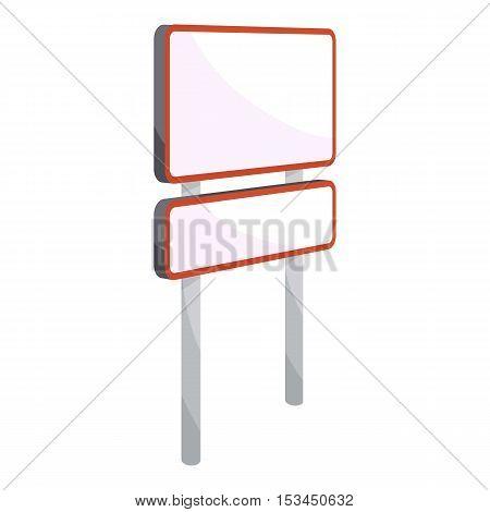 Rectangular road sign icon. Cartoon illustration of rectangular road sign vector icon for web