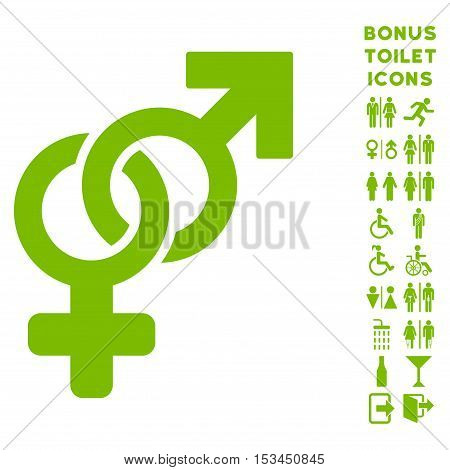 Heterosexual Symbol icon and bonus gentleman and woman restroom symbols. Vector illustration style is flat iconic symbols, eco green color, white background.