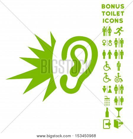 Listen Loud Sound icon and bonus gentleman and woman WC symbols. Vector illustration style is flat iconic symbols, eco green color, white background.
