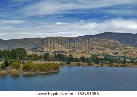 Lake Dunstan in the township of Cromwell Central Otago New Zealand