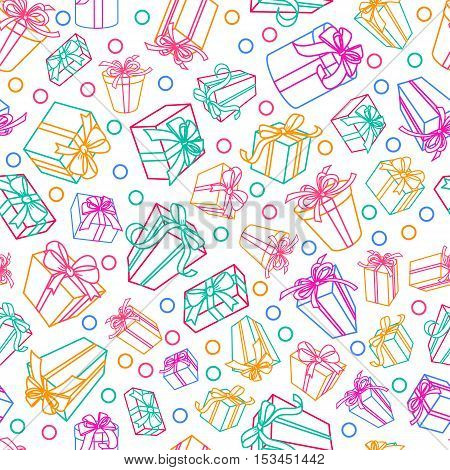 Vector Seamless White Pattern With Multicolor Outline Gift Boxes And Ribbons.