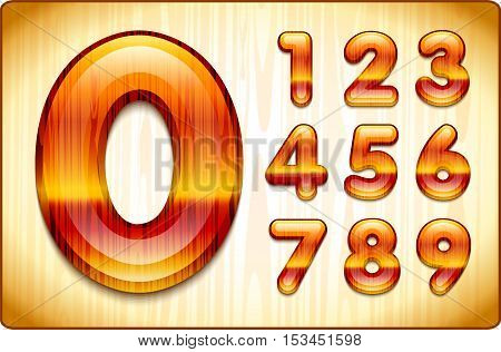 3d Joyful Decorative lacquer numbers of expensive wood, from 1 to 0. Eps 10.