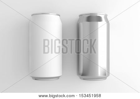 White can and Silver can. 3D illustration