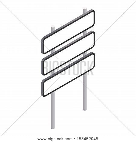 Road signpost with three signs icon. Isometric 3d illustration of road signpost with three signs vector icon for web