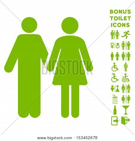 Married Couple icon and bonus gentleman and female lavatory symbols. Vector illustration style is flat iconic symbols, eco green color, white background.
