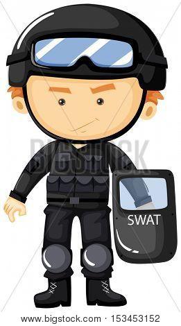 SWAT in black safety suit illustration
