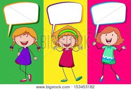 Speech bubble design with three girls illustration