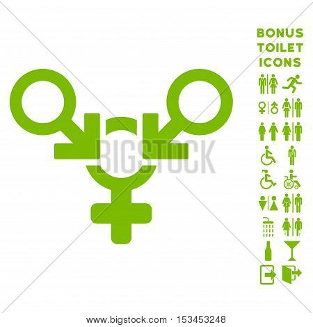 Polyandry icon and bonus man and woman WC symbols. Vector illustration style is flat iconic symbols, eco green color, white background.