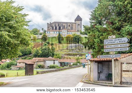 SAINT BERTRAND DE COMINGES,FRANCE - AUGUST 30,2016 - Cathedral of Notre Dame Saint Marie in Saint Bertrand de Comminges which is a commune in the Haute-Garonne department.