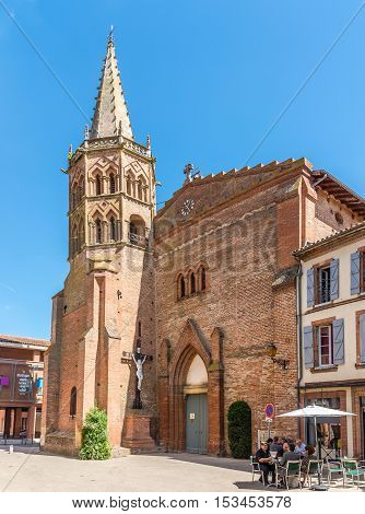 MURET,FRANCE - AUGUST 30,2016 - The centre of Muret with Saint Jacques Church. Muret is a commune in the Haute-Garonne department.