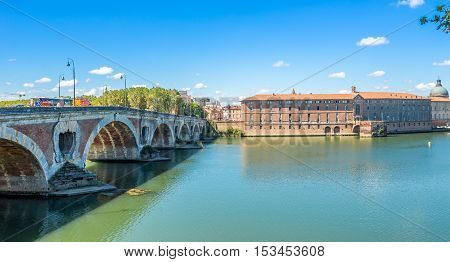 TOULOUSE,FRANCE - AUGUST 30,2016 - Pont Neuf bridge in Toulouse. Toulouse is the capital city of the southwestern French department of Haute-Garonne as well as of the Occitanie region.