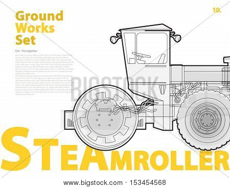 Road steam roller truck. Outline typography set with road roller. Construction machinery vehicle. Asphalt straighten machine. Construction equipment for building. Ground work catalog typography page set.