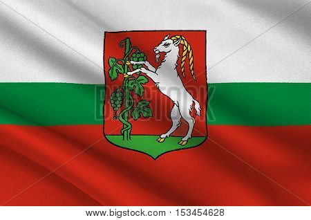 Flag of Lublin city in Lublin Voivodeship in southeastern Poland. 3d illustration