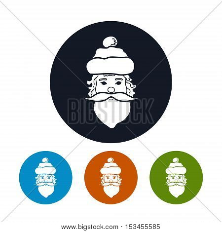 Icon of a Santa Claus Face, Four Types of Colorful Round Icons Santa Claus, Christmas Decoration, Vector Illustration