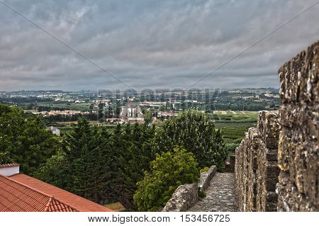 View From Medieval Portuguese City Of Obidos Walls: Nucleo Museolugico Do Santuario Do Senhor Jesus