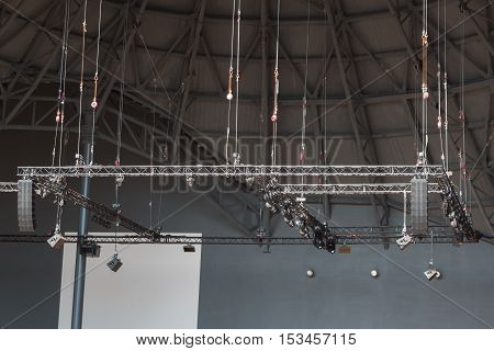 Stage Lights Rack with Spotlights, architecture theme