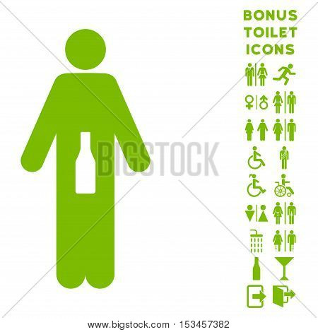 WC Man icon and bonus gentleman and female WC symbols. Vector illustration style is flat iconic symbols, eco green color, white background.