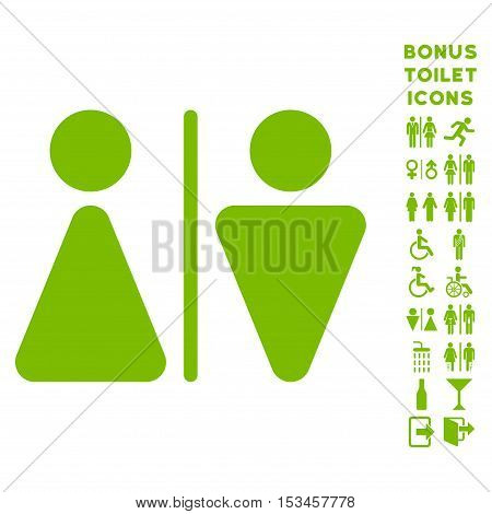 WC Persons icon and bonus male and female WC symbols. Vector illustration style is flat iconic symbols, eco green color, white background.