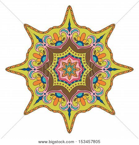 Bright Colored Mandala. Oriental Decoration Pattern. Colorful Eight-pointed Star. Stylized Lodestar. Universal Design Element. Circular Patterned Ornament. Decorative Round Tracery on White Background.