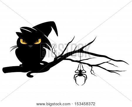 halloween theme evil black cat wearing witch hat and spider on a tree branch - monster vector design