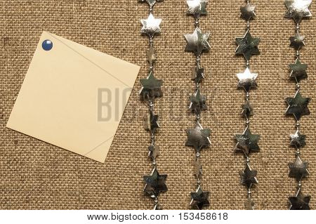 festive sticker on canvas canvas of gray brown linen