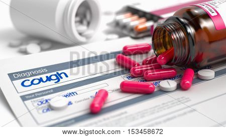 Cough Wording in Differential Diagnoses. Close View of Medicine Concept. Cough - Handwritten Diagnosis in the Anamnesis. Medical Concept with Red Pills, CloseUp View, Selective Focus. 3D Illustration.