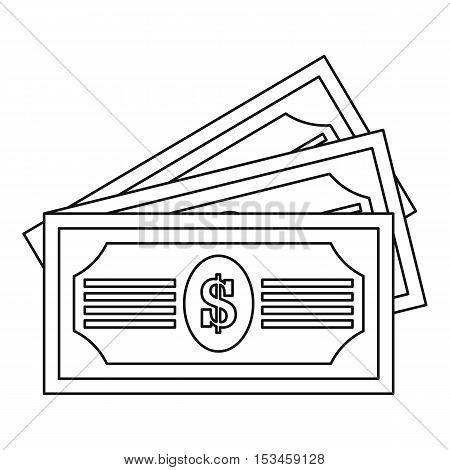 Three dollar bills icon. Outline illustration of three dollar bills vector icon for web