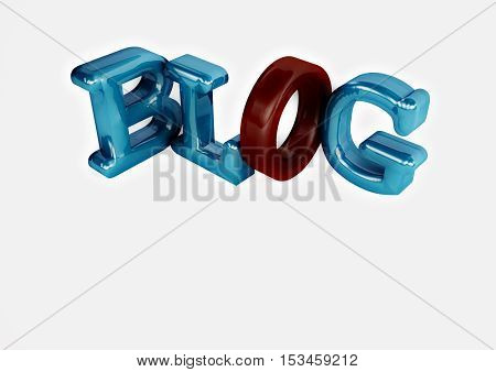 Glossy three-dimensional inscription Blog on dimensional background. 3D rendering.
