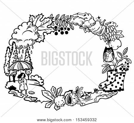 Circle wreath from autumn plants people and birds in doodle style. Fall season nature objects round border frame including girl with umbrella paper boat in the puddle rainy cloud owl on rowan branch pumpkin colorful autumn leaves with chestnuts.