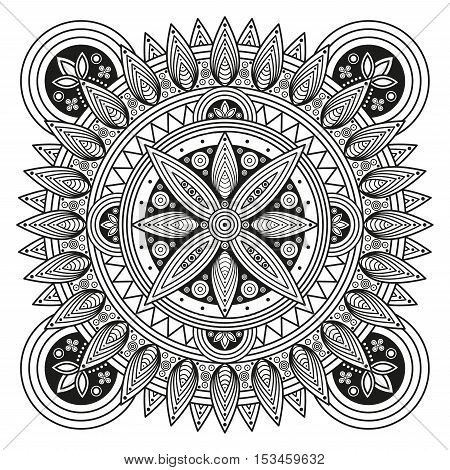 Hindu mandala pattern. Oriental decorative medallion. Ethnic ornament for mural art prints, mehndi style mandala tattoo, boho flourishes & embellishments. Coloring book pages mandala illustration.