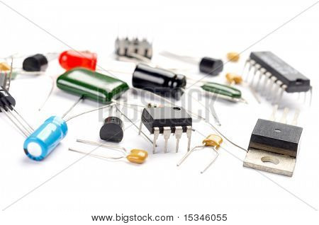 Radio components on white background