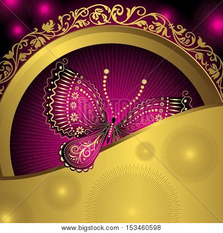 Gold vintage frame with purple lacy butterflies and rays and colorful spots vector