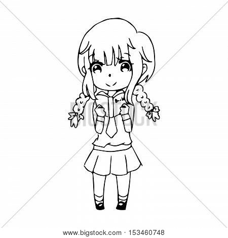 illustration vector hand drawn doodle of closeup happy girl standing and reading book alone