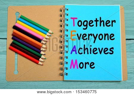 Together everyone achieves more words on notebook