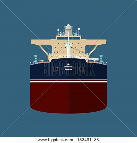 Front View of the Vessel Oil Tanker, International Freight Transportation, Vessel for the Transportation of Goods , Vector Illustration