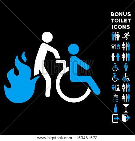 Fire Patient Evacuation icon and bonus man and woman lavatory symbols. Vector illustration style is flat iconic bicolor symbols, blue and white colors, black background.