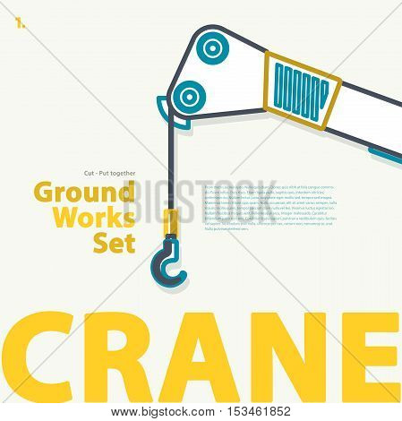 Outline typography set with lorry. Outlined truck. Construction machinery vehicle. Construction equipment for building. Nice ground works typography page. Catalogue typography set with truck.