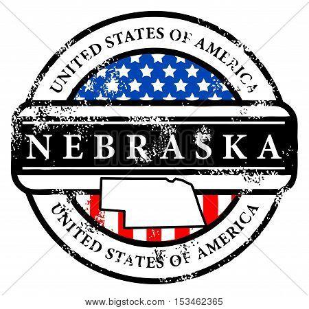Grunge rubber stamp with name of Nebraska, vector illustration