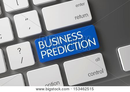 Business Prediction Concept Computer Keyboard with Business Prediction on Blue Enter Button Background, Selected Focus. 3D Illustration.