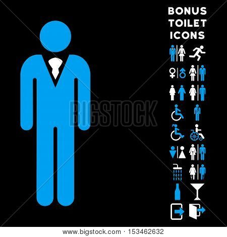Gentleman icon and bonus gentleman and lady lavatory symbols. Vector illustration style is flat iconic bicolor symbols, blue and white colors, black background.