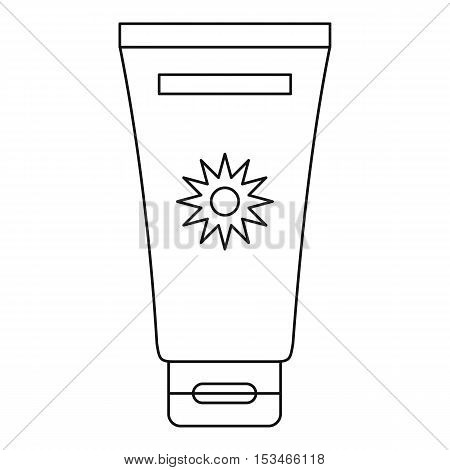 Cream sun protection icon. Outline illustration of cream sun protection vector icon for web