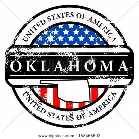 Grunge rubber stamp with name of Oklahoma, vector illustration