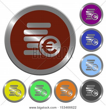 Euro coins icons in color glossy coin-like buttons