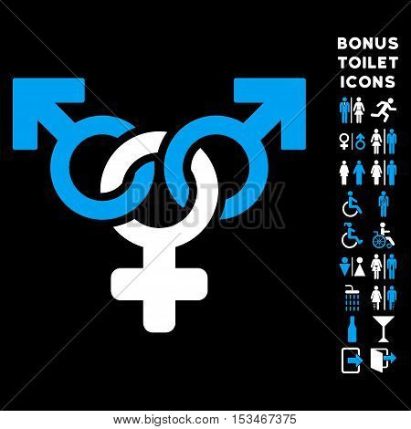 Polyandry icon and bonus man and female restroom symbols. Vector illustration style is flat iconic bicolor symbols, blue and white colors, black background.