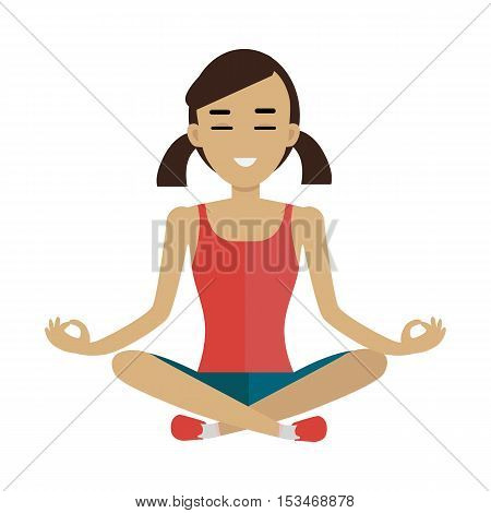 Young woman in red shirt and blue shorts making meditation in lotus pose. Zen woman in yoga pose. Meditating woman. Isolated object in flat design on white background.