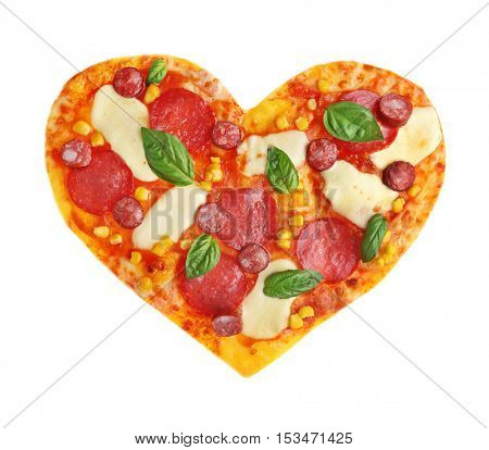 Tasty pizza in shape of heart isolated on white